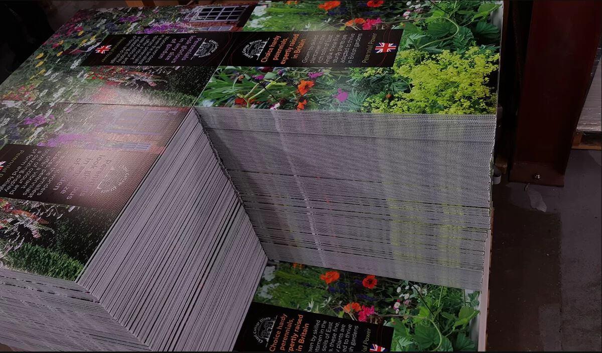 Pile of printed correx board